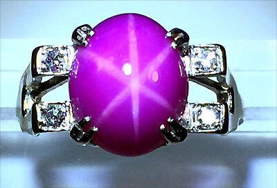 Stunning 4.8ct Clearly Visible 6-Ray STAR Ruby Diamond Ring In 14k White Gold