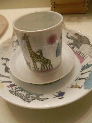 3 piece Melitta  ZOO ANIMALS Childrens China Set Bowl Cup Saucer Germany - RARE