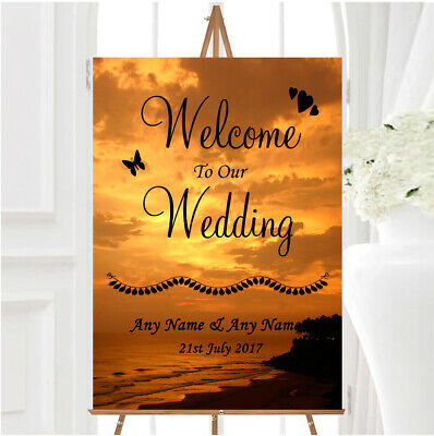 Palm Tree Beach Abroad Personalised Any Wording Welcome To Our Wedding Sign