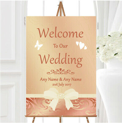 Cream Pale Coral Peach Pink Bow Personalised Any Wording Welcome Wedding Sign