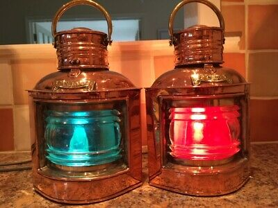 antique ships Port & Starboard lights. brass copper. lantern lamps marine yacht