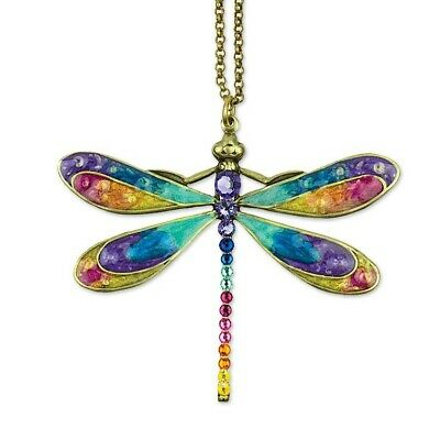 New Anne Koplik Swirl Of Color Large Dragonfly  Necklace ~~Made In Usa~~