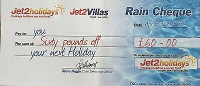 30xJet2Holidays £60Rain Cheque voucher valid till March 2020 BOOK BY AUG 2019.