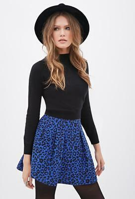 f9855b7d2 Forever 21 Black Blue Contemporary Pleated Leopard-patterned Skirt Small S