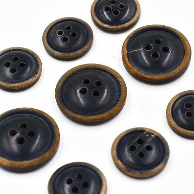 11pcs 15/20mm Vintage Black Real Buffalo Horn Suit Set Blazer Button Bespoke DIY