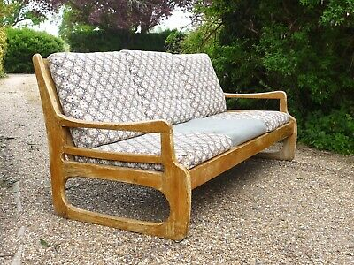 Vintage 70s wooden conservatory sofa. 3 seater