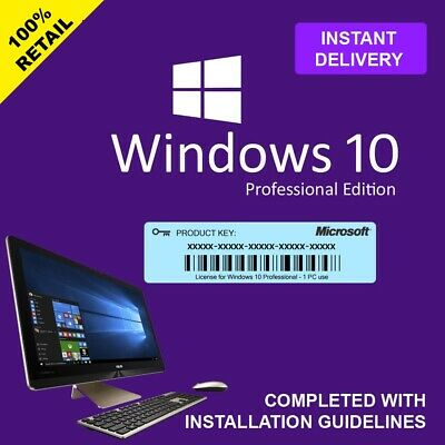 Windows 10 Professional Pro Key 32 64 Bit Activation Code License Key Genuine