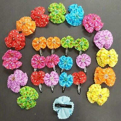 "24pcs Baby Girl Kid Hair Clips Flower Bow Bands Hairpin Alligator 2"" 1.5"" Lots"