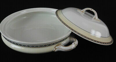 """Vintage Andover Trace Mark Off White/Yellow 9"""" Serving Dish With Lid"""