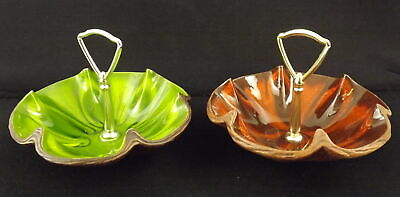 Vintage Retro Green & Brown USA 610 Candy/Nut Bowls With Handles (2)