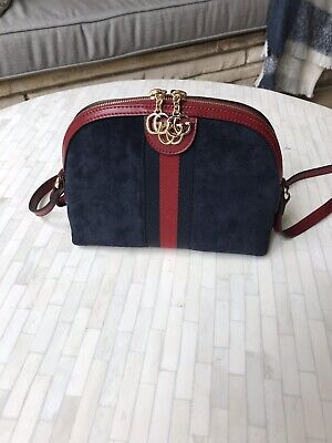 2888a3906ef776 GUCCI OPHIDIA SMALL Shoulder Bag Navy Blue Suede w Red Leather ...
