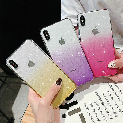 Shockproof Gradient Bling Glitter Soft Case Cover For iPhone XS Max XR 8 7 Plus