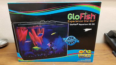 GloFish Aquarium Kit 3 Gallon Blue LED Lights Internal Filter Complete Set New