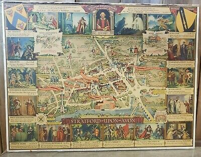 """Vintage 1950's William Shakespeare """"The Immortal Band"""" PICTORIAL MAPS LTD"""