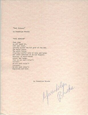 Gwendolyn Brooks Typescript African American Signed Paul Robeson Pulitzer 8.5X11
