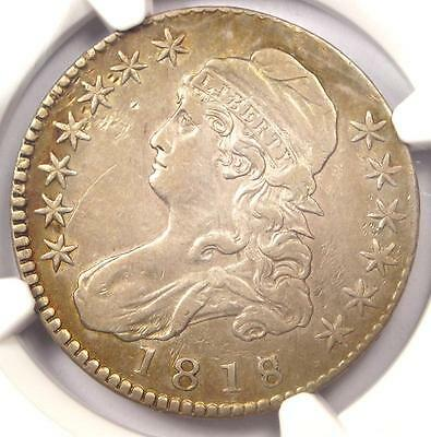 1818/7 Capped Bust Half Dollar 50C O-101 - NGC XF Detail - Rare EF Overdate Coin