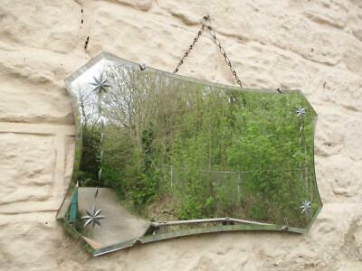 Stunning Vintage 1940's Art Deco Mirror Frameless On Chain Silver Etched