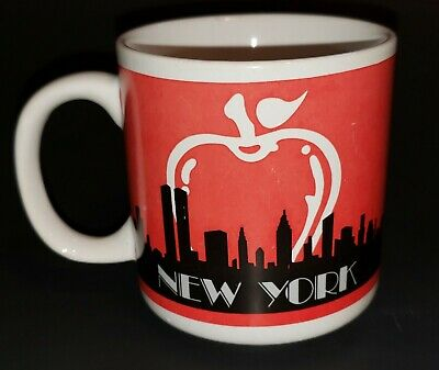 Vintage New York City Skyline Twin Towers Coffee Mug Souvenir NYC Cup Big Apple