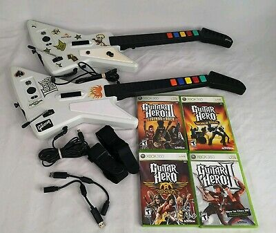 Xbox 360 Guitar Hero Xplorer OEM Wired Controller Lot of 2 w/ 4 Games TESTED