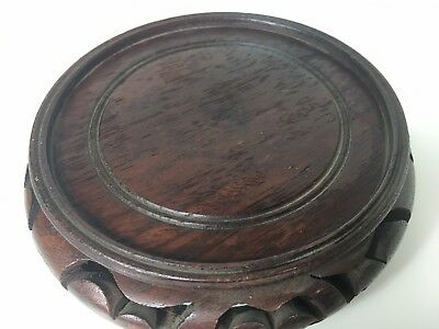 "VERY FINE CHINESE ANTIQUE/VTG DARK WOOD STAND BASE VASE BOWL 4"" Dia.LOT#67"