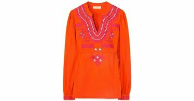 2ae5a0f45e8 Tory Burch Claudia Mirror Embroidered Cotton Tunic Top 2 NWOT New $350  Blouse