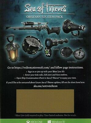 Sea Of Thieves Obsidian 6 item Pack INSTANT DELIVERY XBOX PC RARE Comic-con