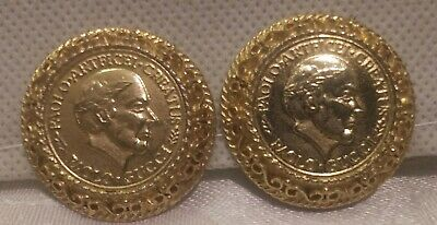 83b383f47fb VINTAGE PAOLO GUCCI EARRINGS Roman GOLD Coin Button Signed CLIP ON ...