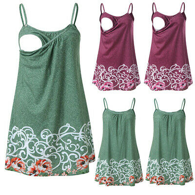 Women Pregnant Floral Print Tank Tops Nursing Baby For Maternity Sleeveless Tops