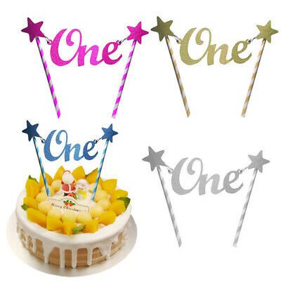 Glitter Star One 1st Happy Birthday Cake Topper Bunting Banner Party Decors DIY