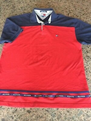 TOMMY HILFIGER SPELL Out Short Sleeve RedBlue Polo Shirt Men's Size Large A7 01