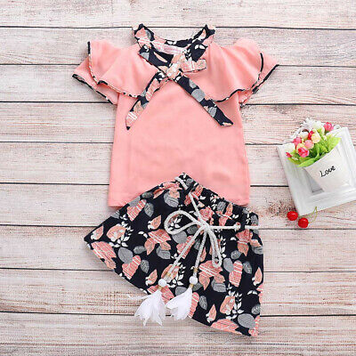Toddler Infant Baby Girls Floral Print Rufflus Bowknot Blouse Skirt Outfits Dres