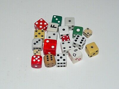 Vintage Antique Huge Lot of 20 Various Sizes Colors Dice From Various Decades