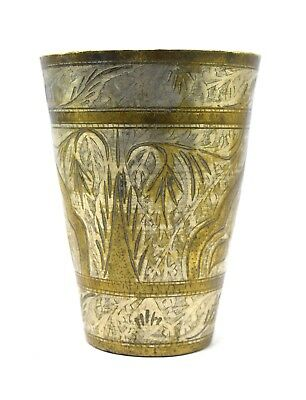 Vintage Indo Islamic Brass Milk / Lassi Cup, Kitchenware Water Glass. i40-116 US