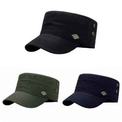 634b24a99 Mens Women Summer Army Plain Hat Military Cadet Adjustable Baseball Flat Cap