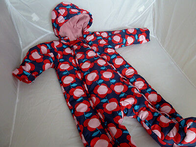 Baby Girls M&S All In One Fleece Lined Snow Suit 6-9 Months