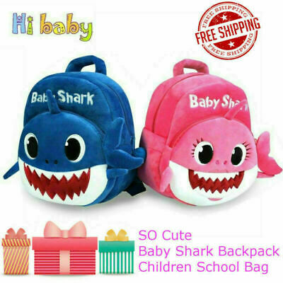 Kids Accessories Backpack Baby Shark Cute Back to School Girls Boys Soft Bags
