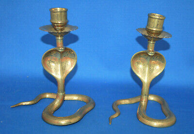 Unusual and attractive pair of antique brass snake, serpent, cobra candlesticks