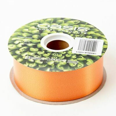 "2"" FLORIST RIBBON ORANGE 50mm Poly Satin Flower Hamper Gifts Weddings 91m Roll"