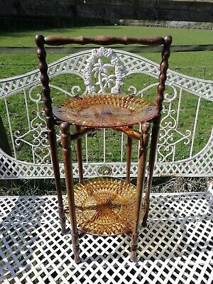 Antique Wooden Folding Two Tier Cake Stand 2 Large Amber Glass Plates Circa 1910