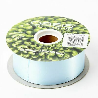 "2"" FLORIST RIBBON PALE BABY BLUE 50mm Satin Flower Hamper Gift Weddings 91m Roll"