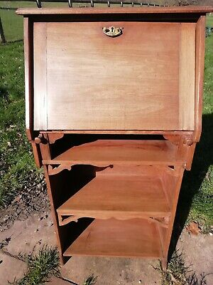 Antique Satin Wood Arts And Crafts Bookcase Writing Bureau Leather Brass Handle