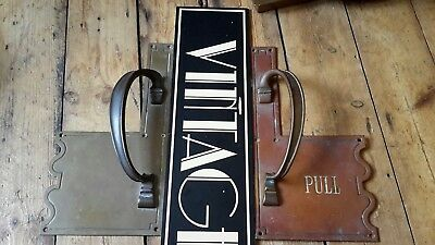 antique old Vintage heavy bronze cinema pub Door pull Handles large 14.5 inch