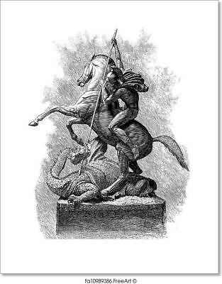St. George And Dragon Engraved Art Print Home Decor Wall Art Poster