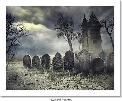 Gothic Picture Horror Poster Art Haunted Ruins of an Old Church Framed Print