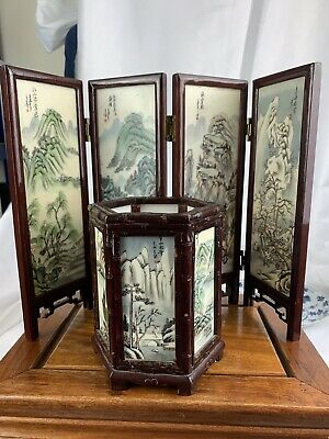 vintage chinese hand printed table screen and brush pot