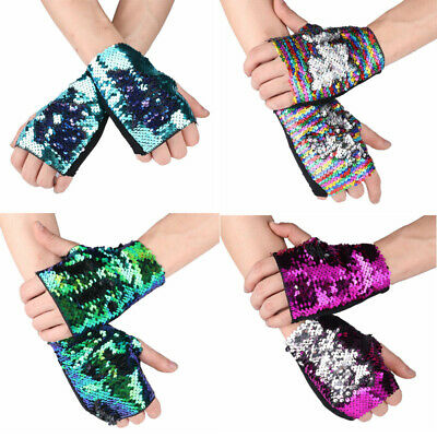 1 Pair Shiny Bling Reversible Sequin Glitter Fingerless Wrist Gloves Dance Party