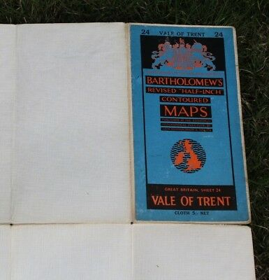 Bartholomews half inch revised contoured maps Sheet 24 Vale of Trent cloth 1960