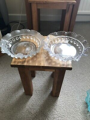 Two Clear Glass Frilled Edge Vintage Pressed Glass Bowls  Size 7 Inches Across