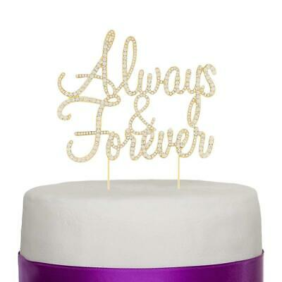 Always and Forever Wedding Cake Topper, Romantic Decoration (Gold), Gold