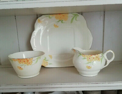 Vintage Art Deco English Bone China Jug Bowl Cake Plate Hand Painted Buttercups